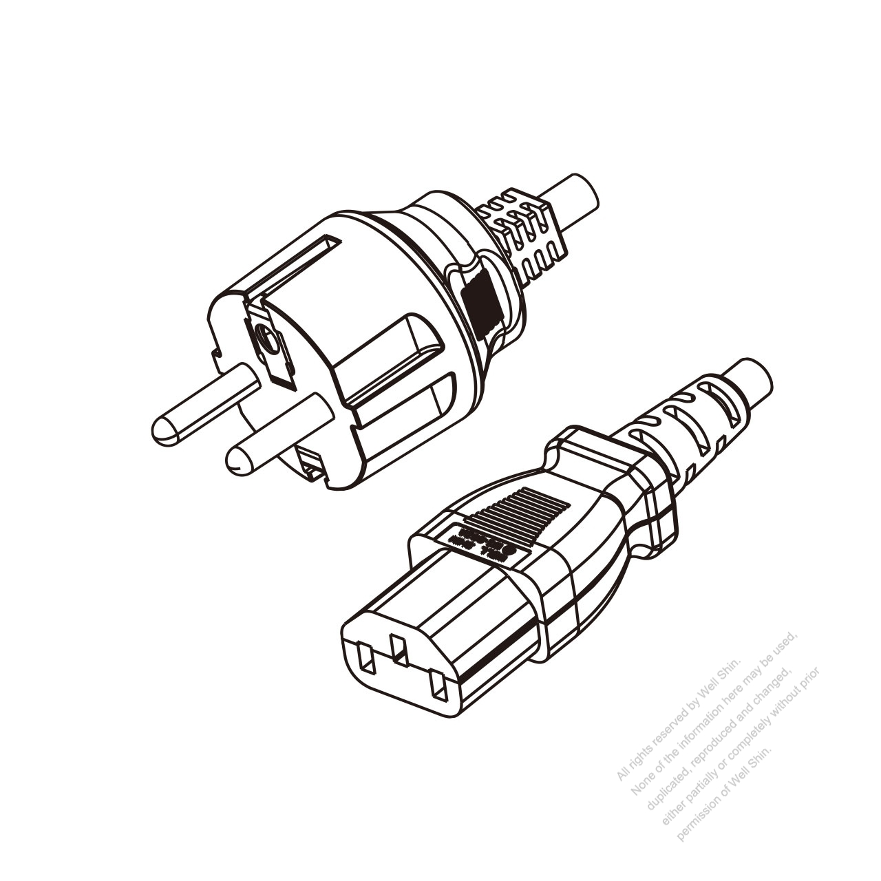 Europe 3 Pin Plug To Iec 320 C13 Power Cord Set Hf
