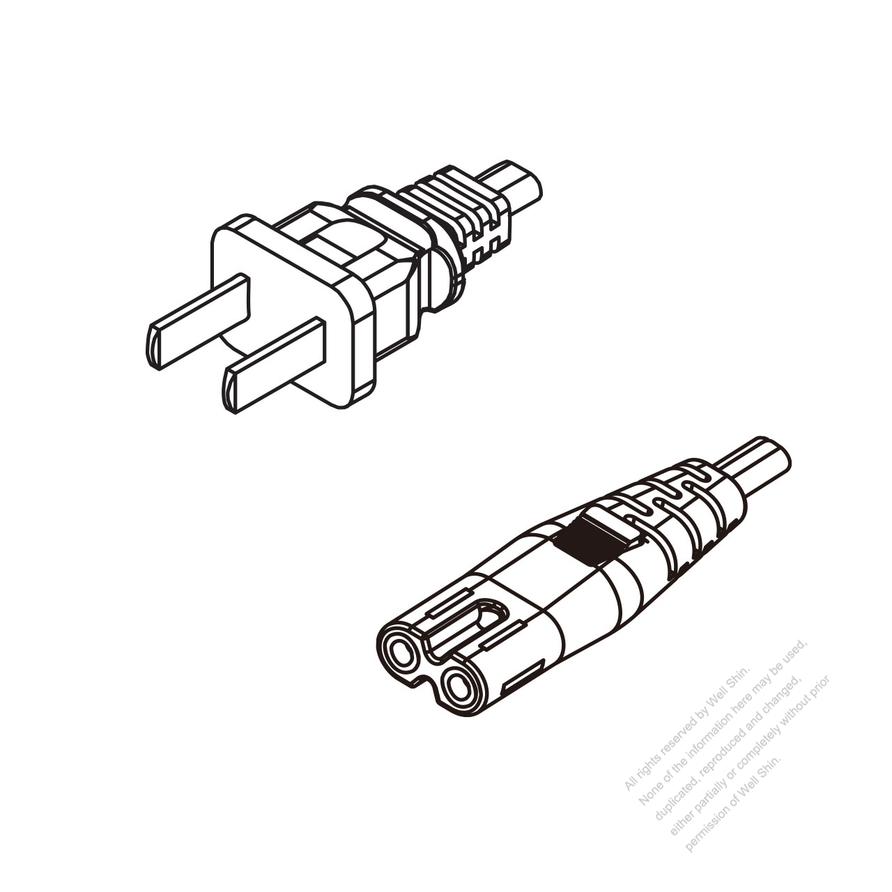 China 2 Pin Plug To Iec 320 C7 Ac Power Cord Set Molding
