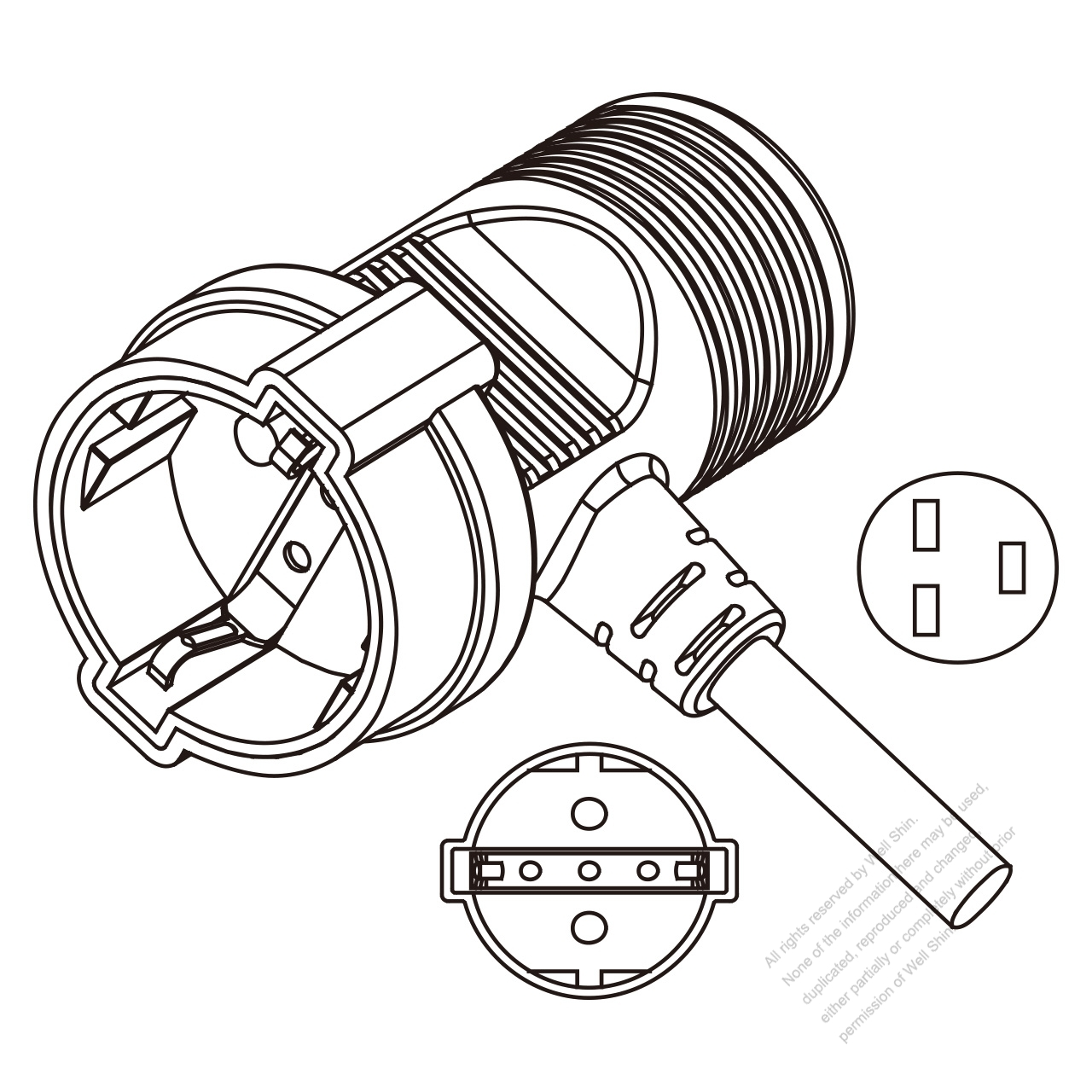 Germany Ac Connector 3 Pin 16a 250v