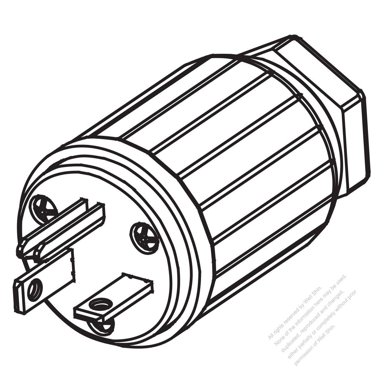 Usa Canada Nema 6 20p 3 Pin Straight Blade Plug 2 P 3