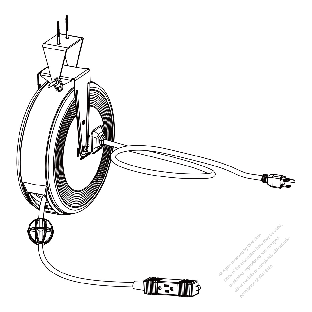 Ceiling Mounting Cord Reel 30 Ft Sjtw Sjt 16awg 3c W