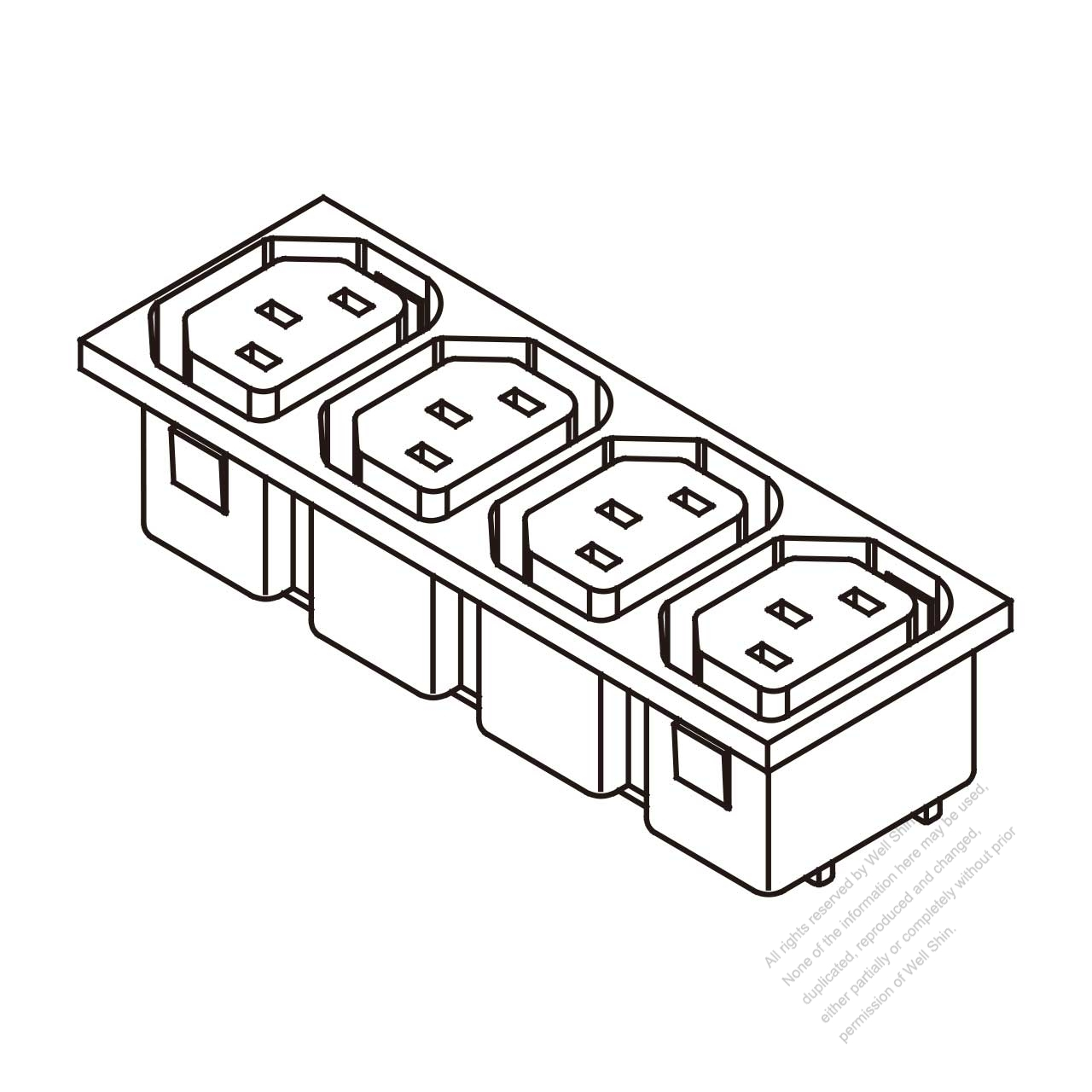 Ac Socket Iec 2 Sheet F Appliance Outlet X 4 10a 15a