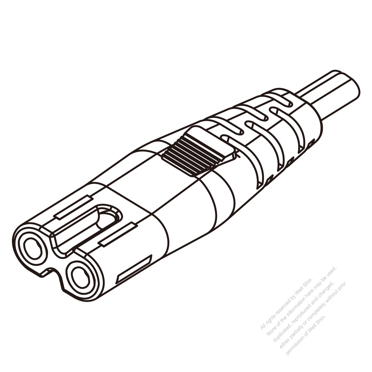 Iec 320 C7 Connectors 2 Pin Straight 2 5a 250v