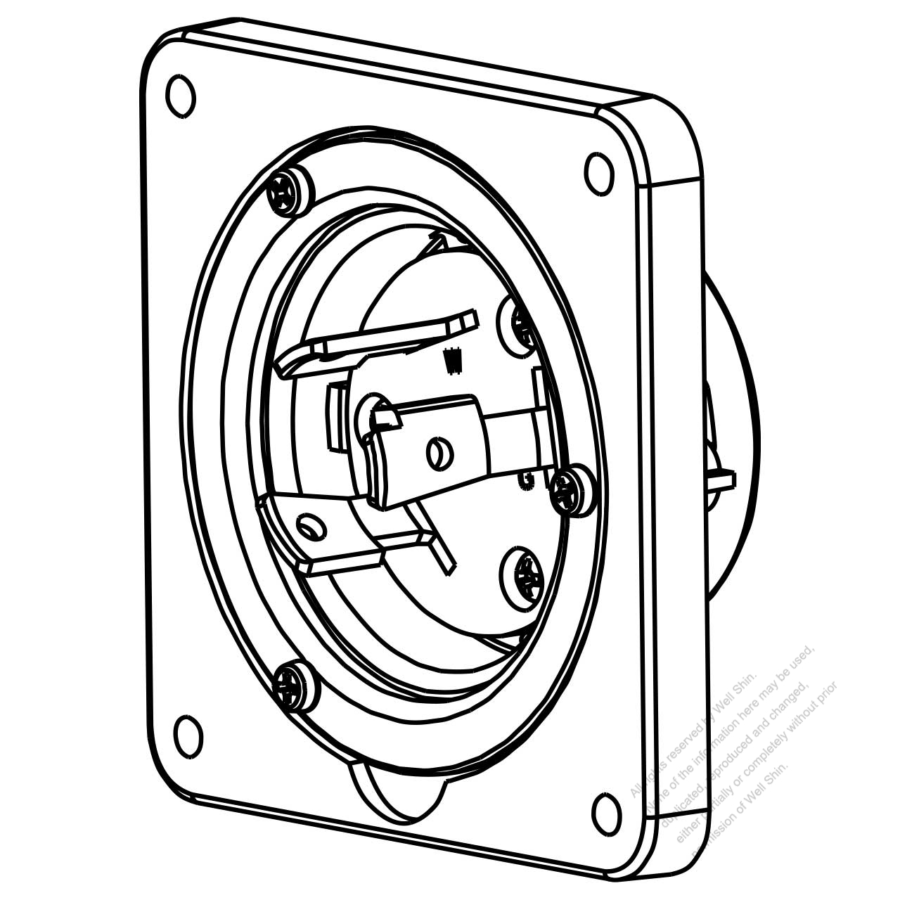 Usa Canada Locking Flanged Inlet Nema L6 30p 2 P 3 Wire