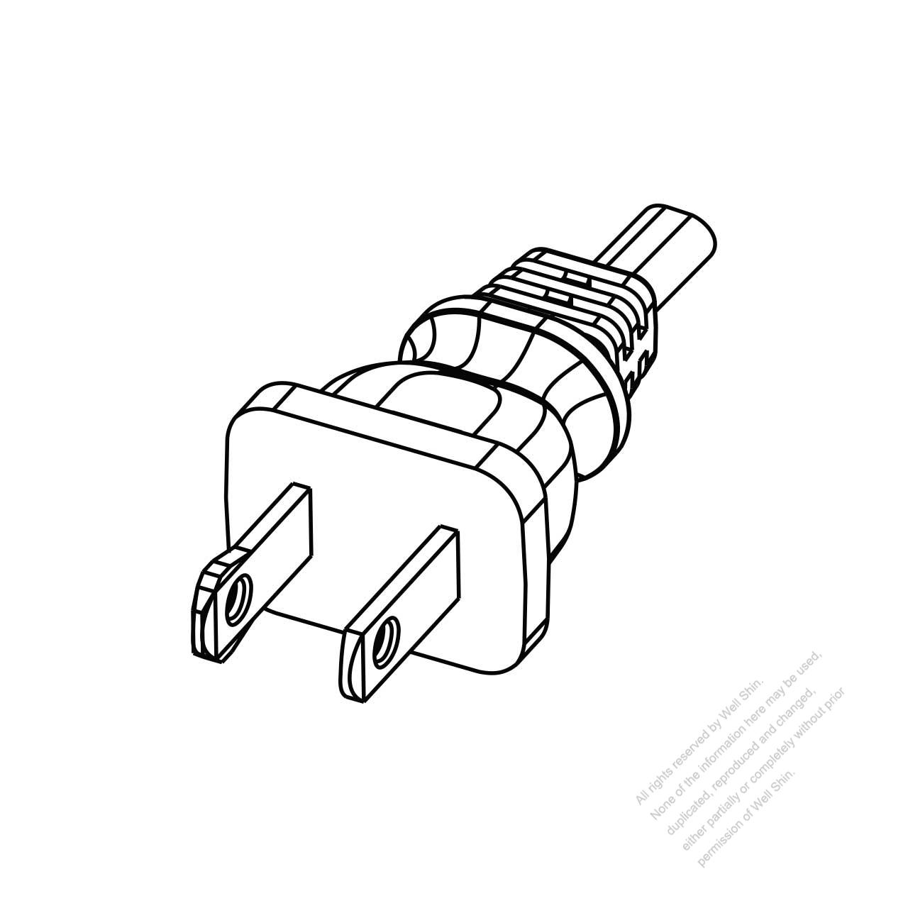 Usa Canada Nema 1 15p Straight Ac Plug 2 P 2 Wire Non