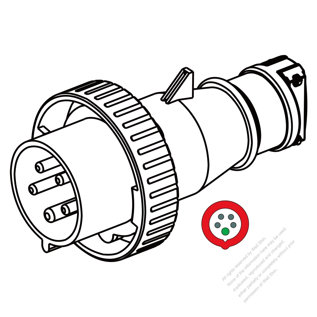 Iec 309 Plug 5 Pin 4p 5w Ip 67 Watertight Plugs 32a 220v