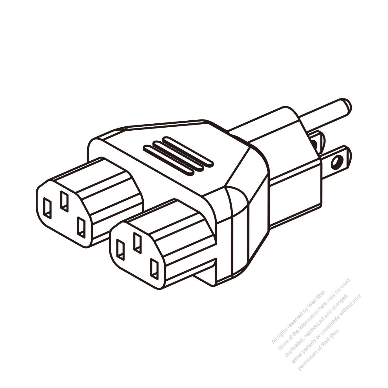 Adapter Plug Nema 5 15p To Iec 320 C13 X 2 3 To 3 Pin