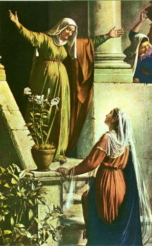 Elizabeth greets Mary in Carl Bloc's painting of the Visitation