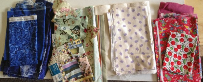 Fabric choices for Inklingo mystery quilt