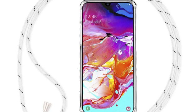 Crossbody Cover with Neck Strap For Galaxy A50 White Cord