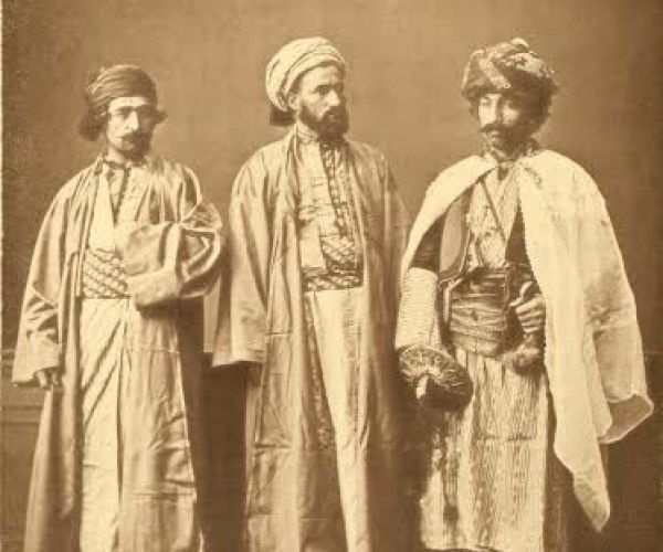 Another photograph from Les costumes populaires de la Turquie en 1873, depicting from left to right a Christian from Diyarbakır, a Muslim from the same city and a Kurd from Palou.