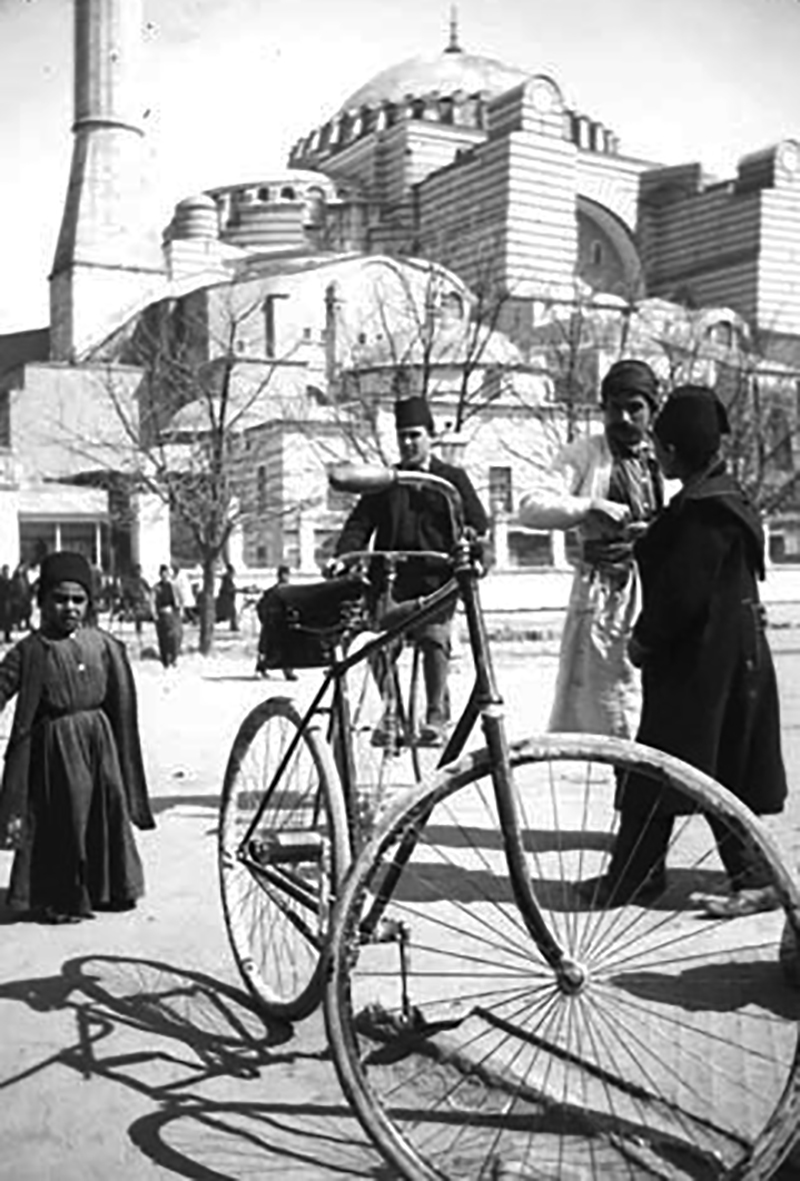 One of the Humber bicycles, with Hagia Sophia looming in the background