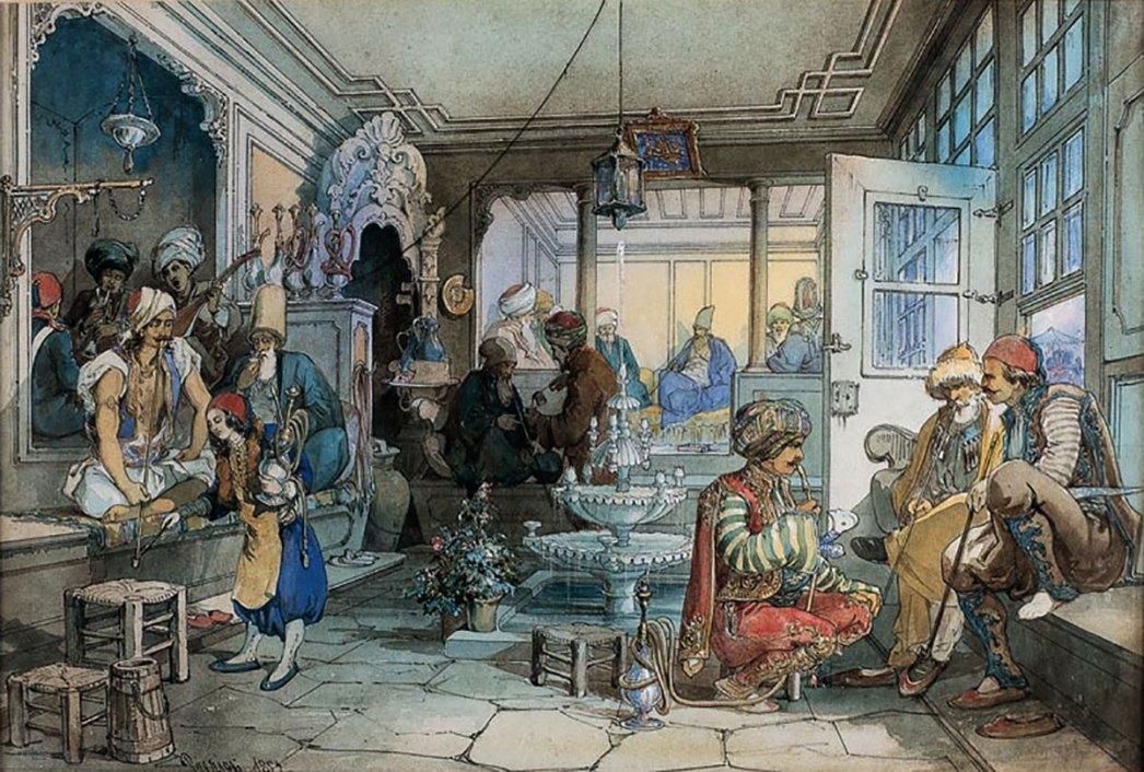 Coffeehouse in Istanbul by Amedeo Preziosi