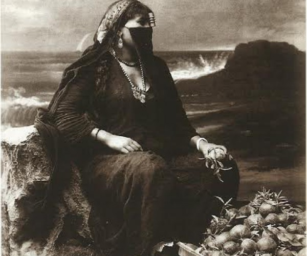 Female orange vendor, Egypt, around 1870