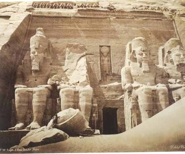 The great temple of Abu Simbel, statues of Ramesses II, 1870