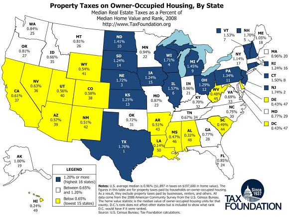 states with highest property tax