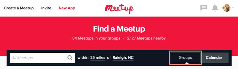find a meetup group