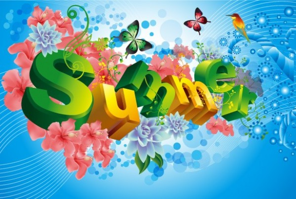 3D Letters SUMMER Vector Abstract Background WeLoveSoLo