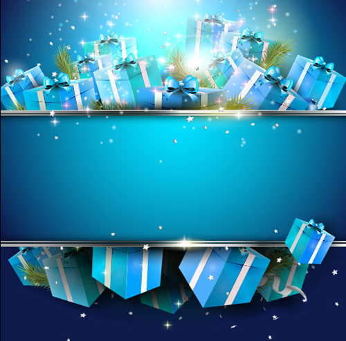 Christmas Blue Gift Box Background Vector WeLoveSoLo
