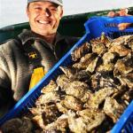Oysterman Shaun with prize oysters for Menai Oysters