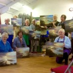 Local art group painting workshop