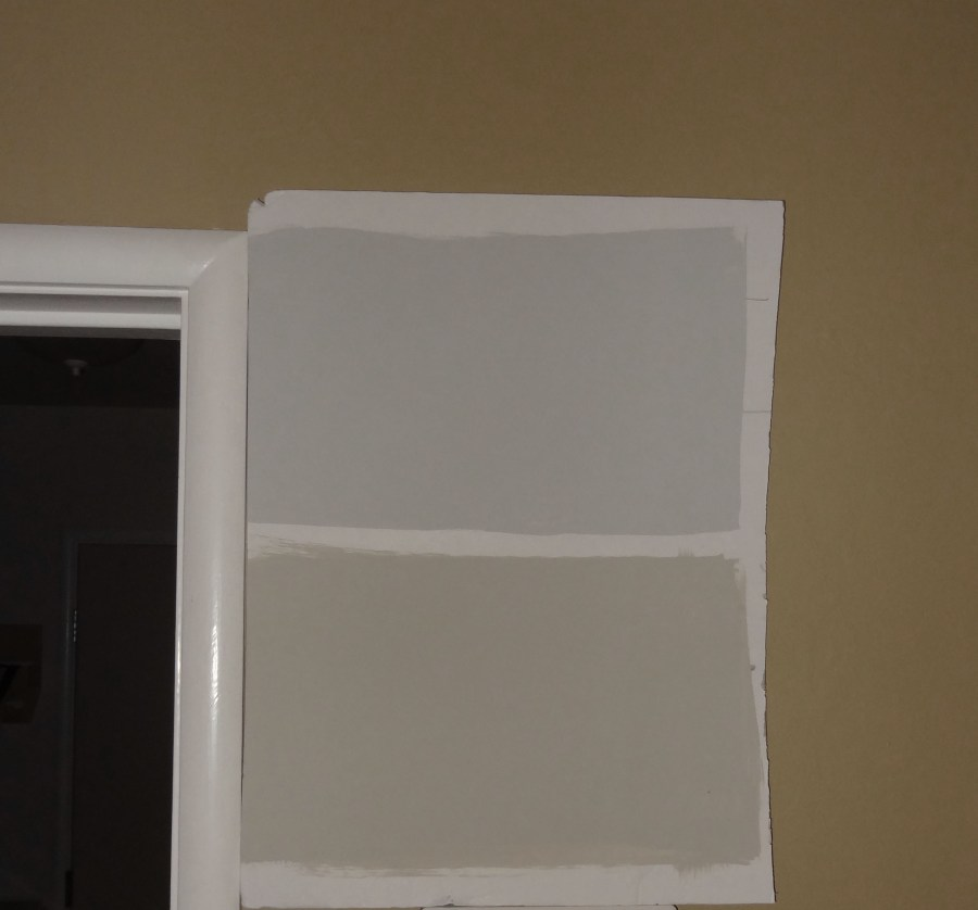 Samples of Benjamin Moore's Revere Pewter and Stonington Gray