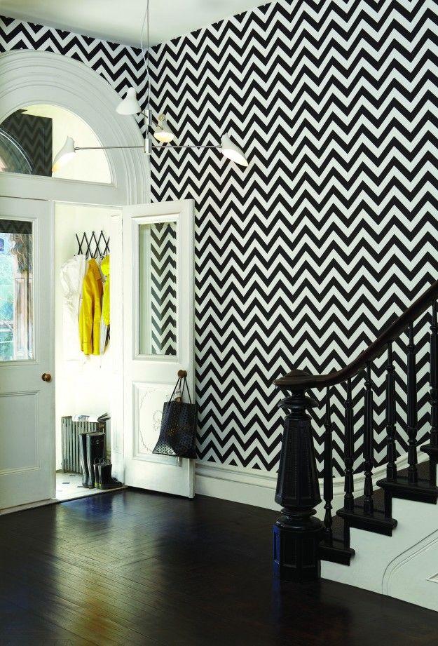 bold black and white herringbone wallpaper