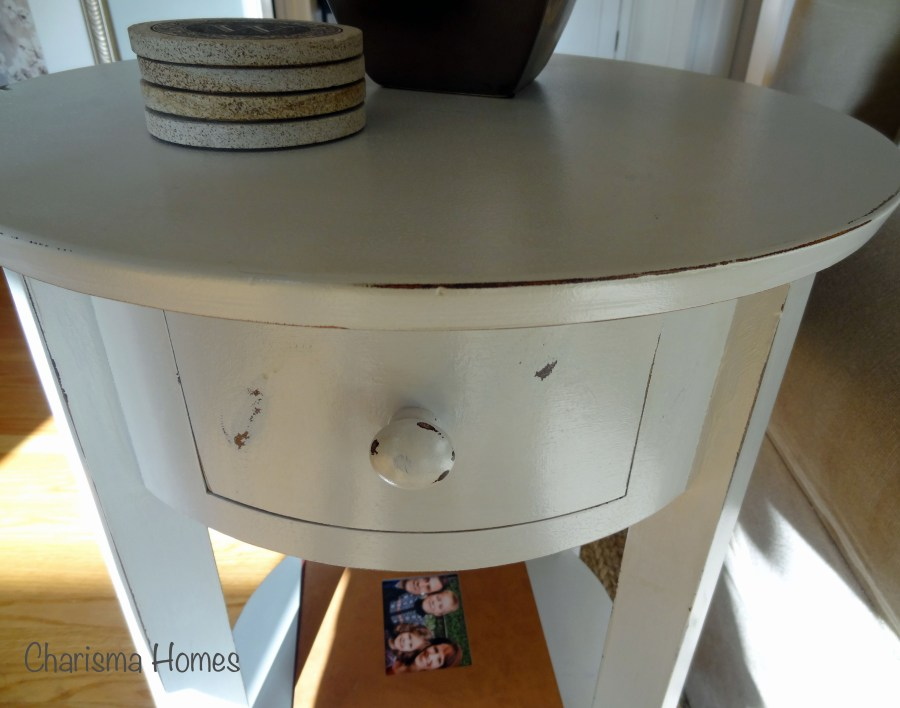 distressed side table, stonington gray painted table