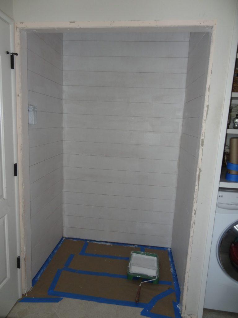 primed plank wall