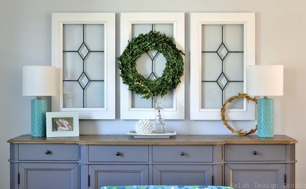 boxwood wreath in window frame