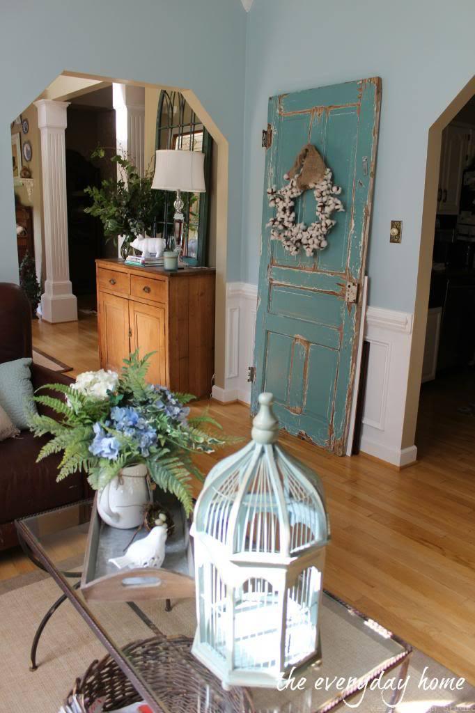 cotton wreath over vintage door