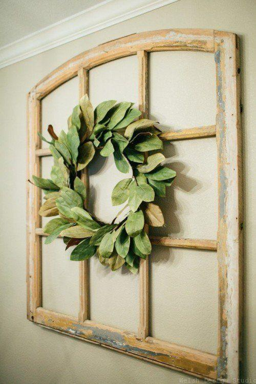 magnolia wreath on window