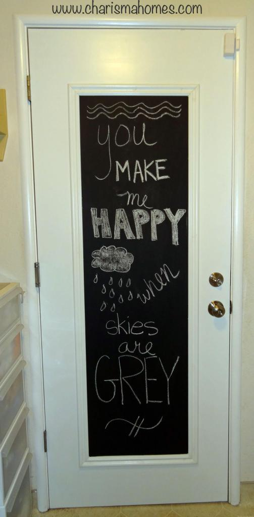 framed chalkboard door