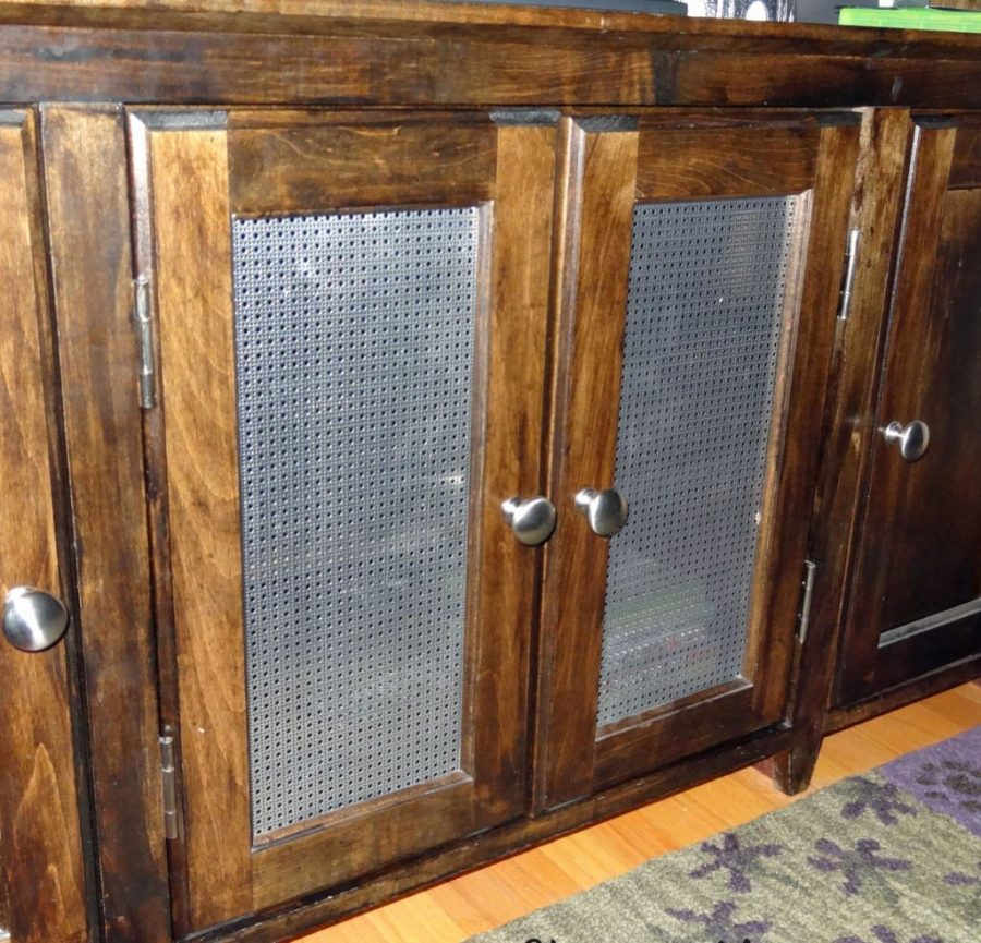 replace glass cabinet with metal screens