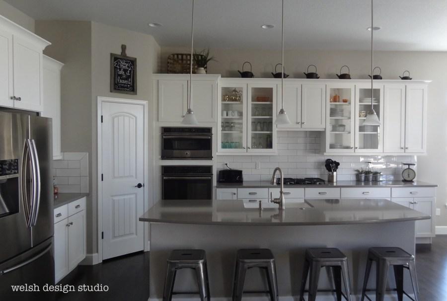 white industrial farmhouse kitchen