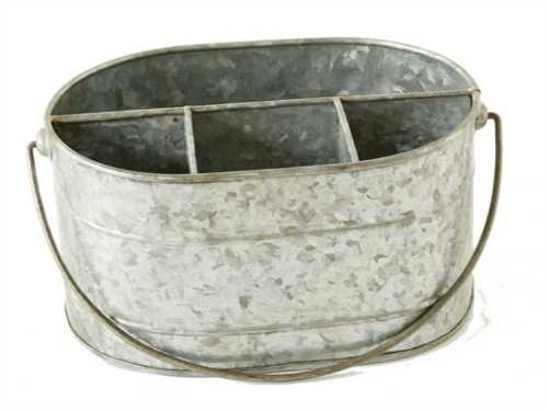 galvanized metal bucket with compartments