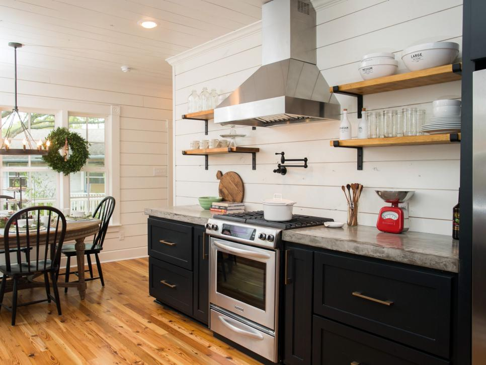 fixer upper black farmhouse style kitchen