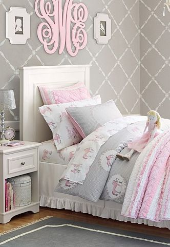gray and pink girl bedroom