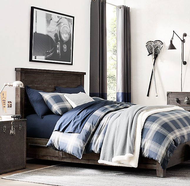 navy and gray teen bedroom