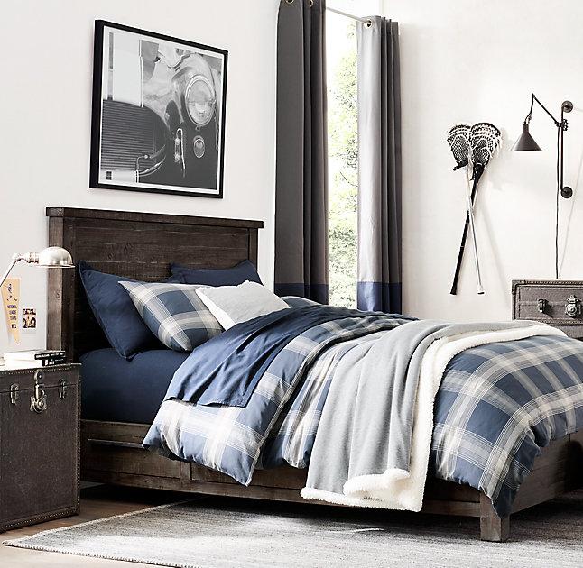 navy and gray teen bedroom