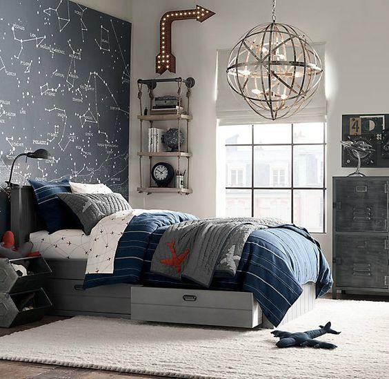 navy and gray aviation bedroom