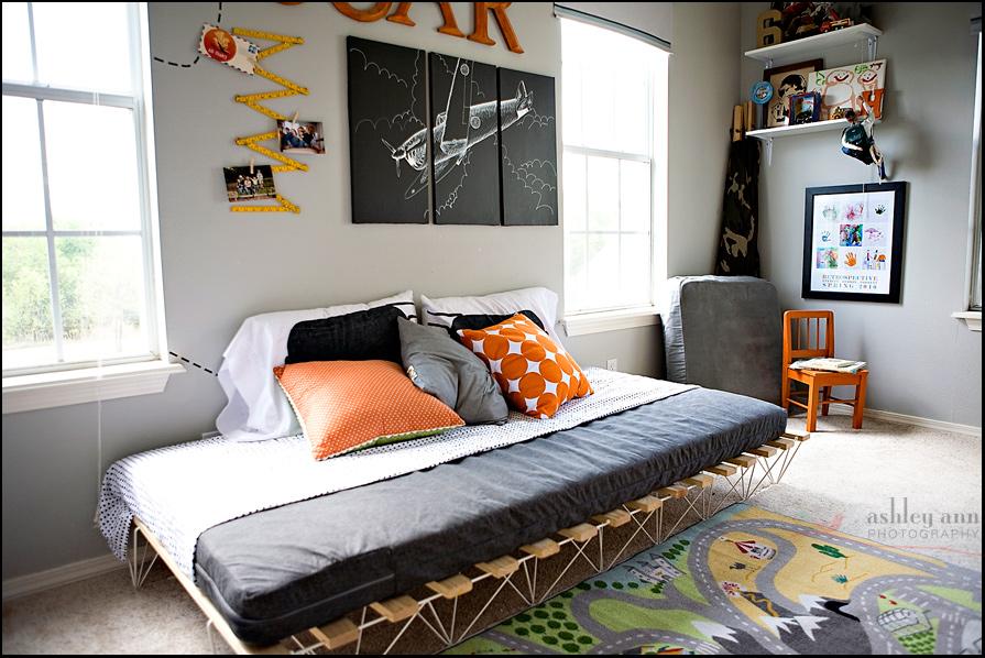 gray and orange boys room