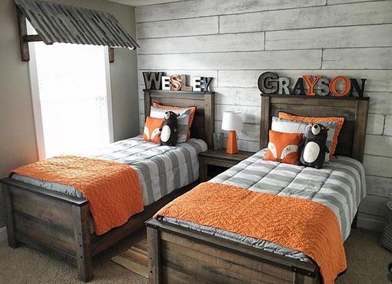 orange and gray boys room