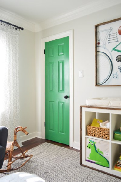 green interior door