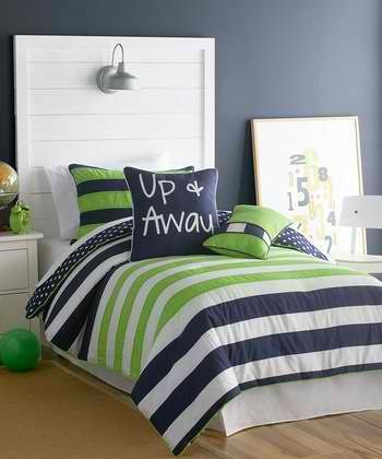 navy and green bedding