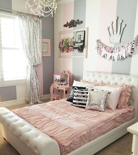 gray and pink stripe bedroom