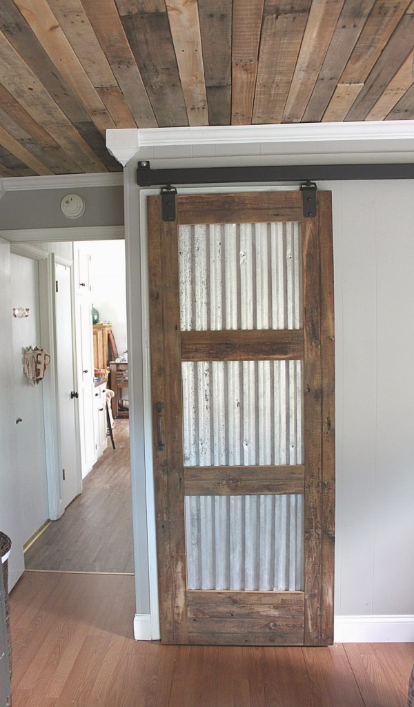 corrugated metal barn door