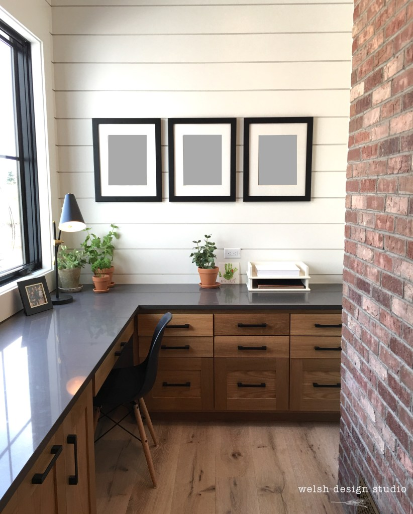 industrial farmhouse office nook