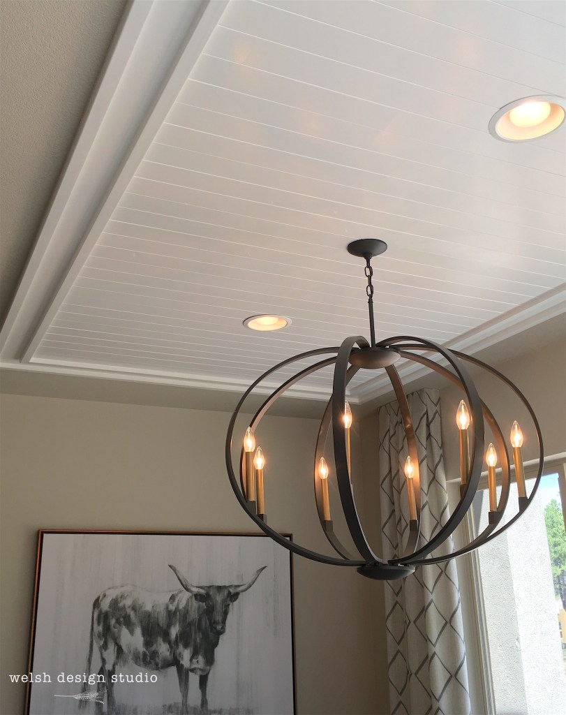 dining room paneled ceiling