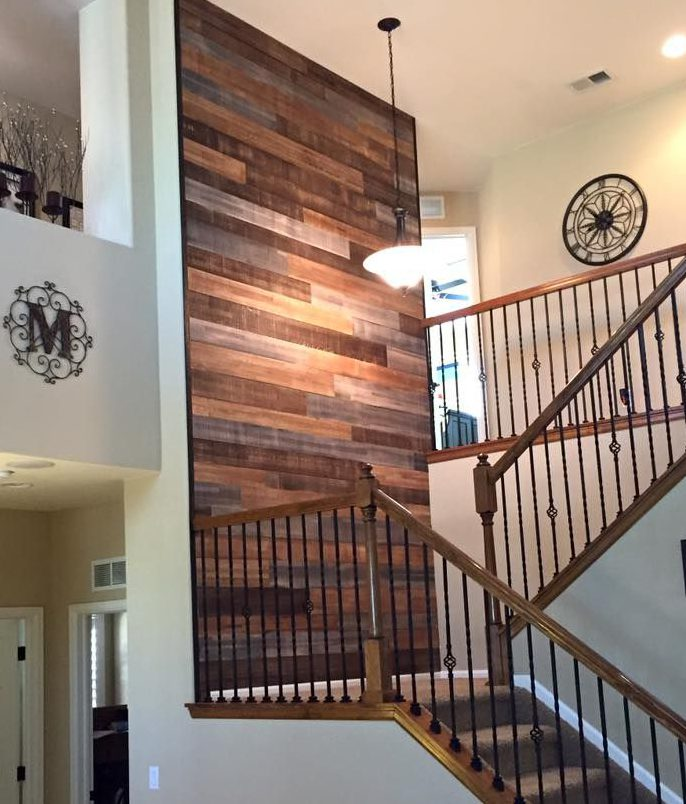 reclaimed wood accent stair wall